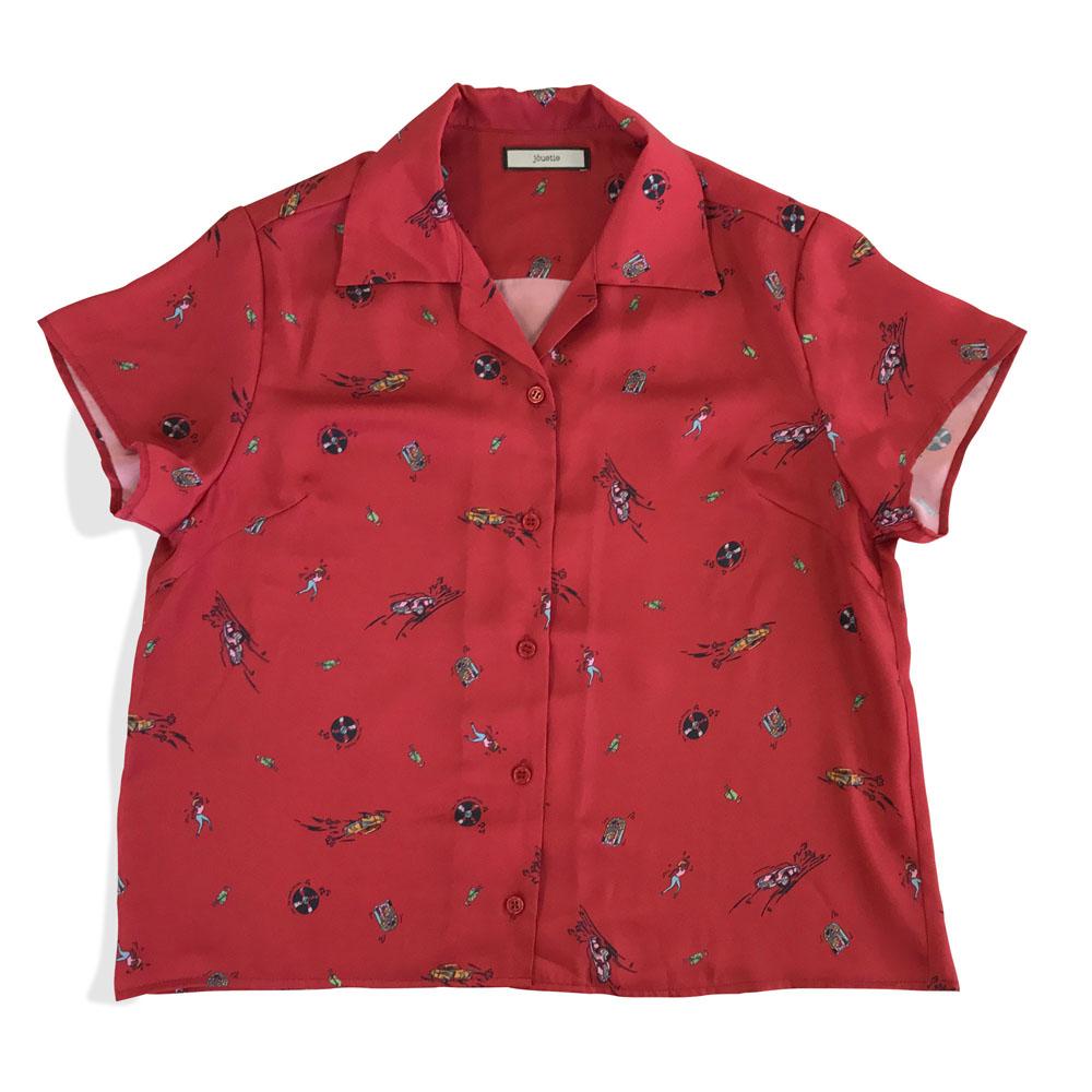 jouetie × TOWER RECORDS オープンカラーシャツ レッド