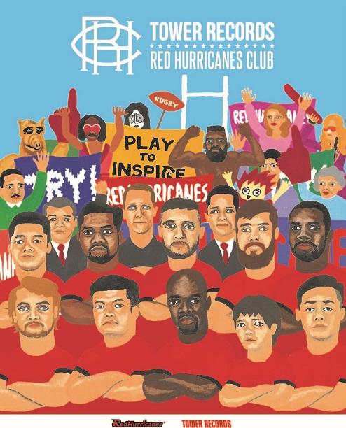 タワレコがラグビー「NTTドコモレッドハリケーンズ」とコラボ!RED HURRICANES CLUB オフィシャルグッズを限定販売