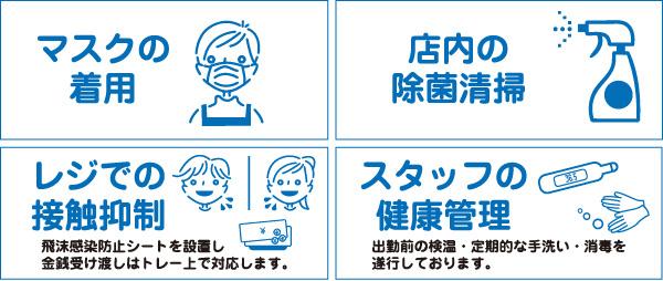 マスクの着用・店内の除菌清掃・レジでの接触抑制・スタッフの健康管理