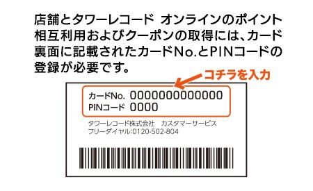 店舗とTOWER RECORDS ONLINEのポイント相互利用およびクーポンの取得には、カード裏面に記載されたカードNo.とPINコードの登録が必要です。